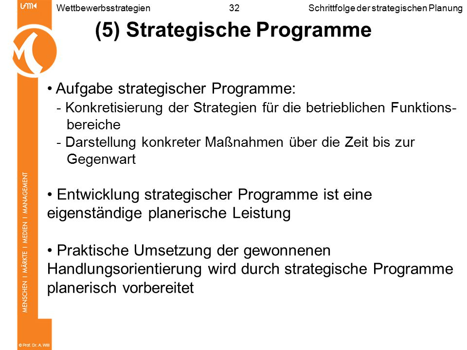 (5) Strategische Programme
