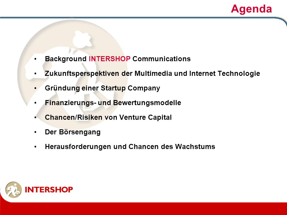 Agenda Background INTERSHOP Communications