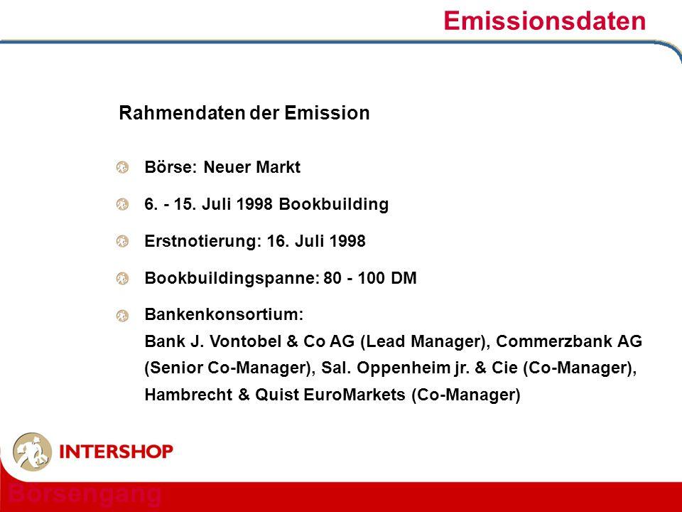 Emissionsdaten Börsengang Rahmendaten der Emission Börse: Neuer Markt