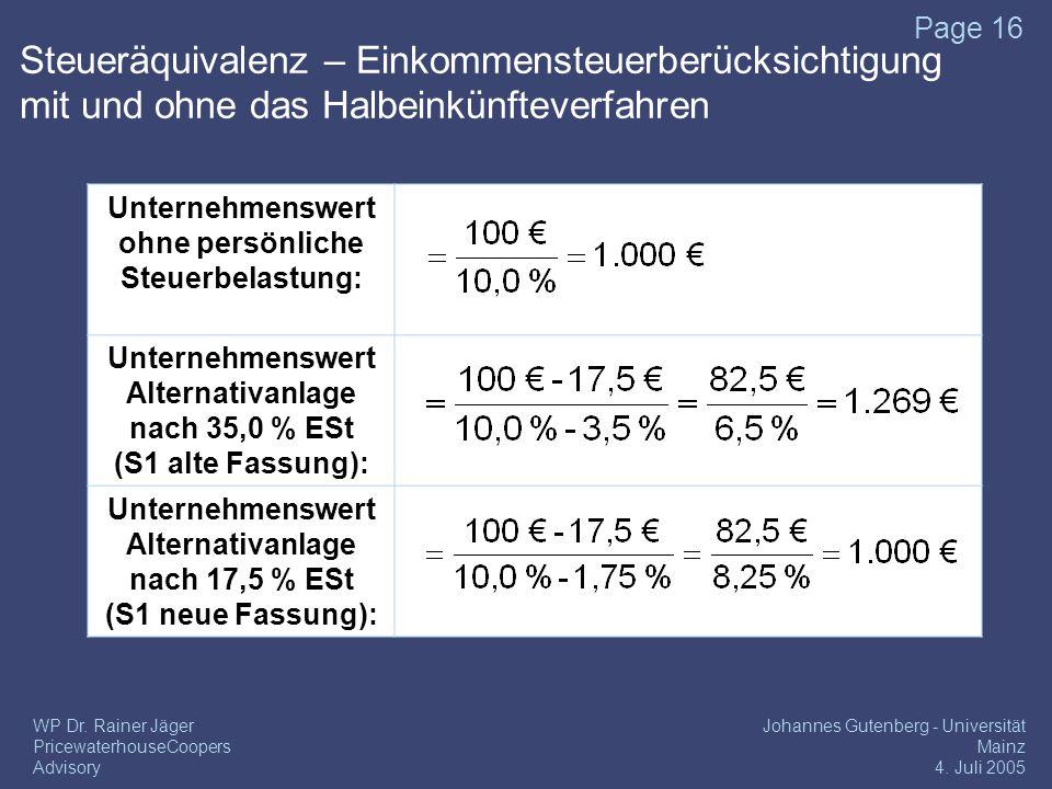 17/04/2017 Steueräquivalenz – Einkommensteuerberücksichtigung mit und ohne das Halbeinkünfteverfahren.