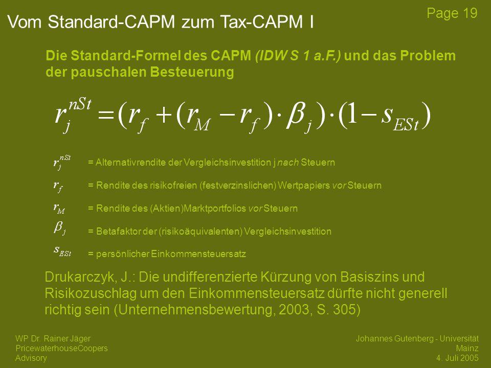 Vom Standard-CAPM zum Tax-CAPM I