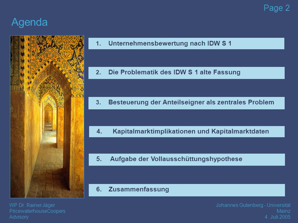 Agenda Unternehmensbewertung nach IDW S 1
