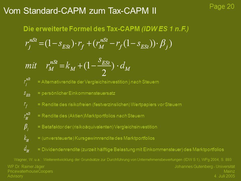 Vom Standard-CAPM zum Tax-CAPM II