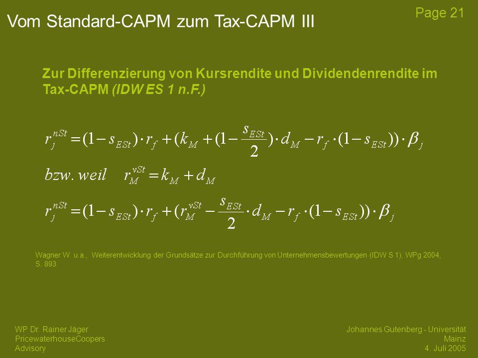 Vom Standard-CAPM zum Tax-CAPM III
