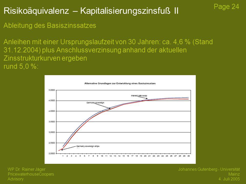Risikoäquivalenz – Kapitalisierungszinsfuß II