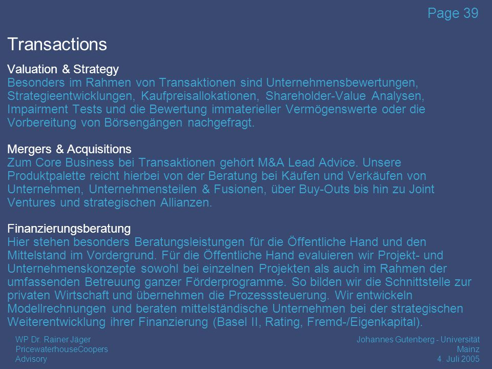Transactions Valuation & Strategy