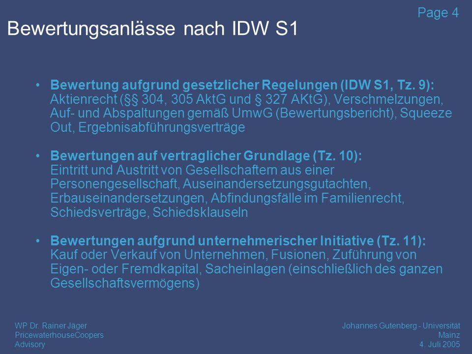 Bewertungsanlässe nach IDW S1