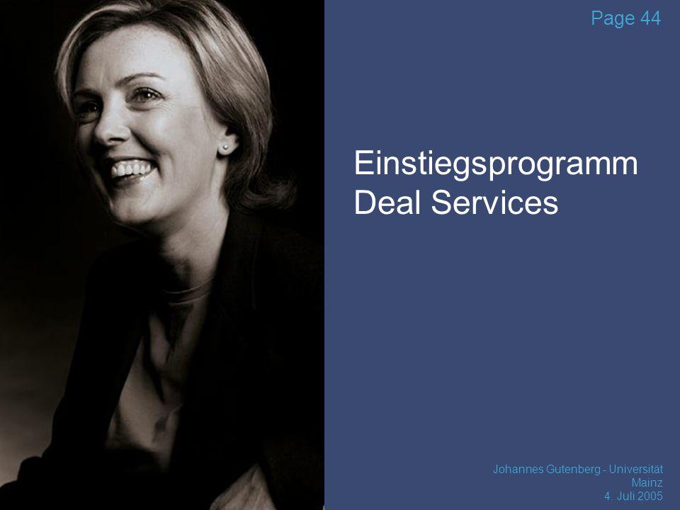 Einstiegsprogramm Deal Services