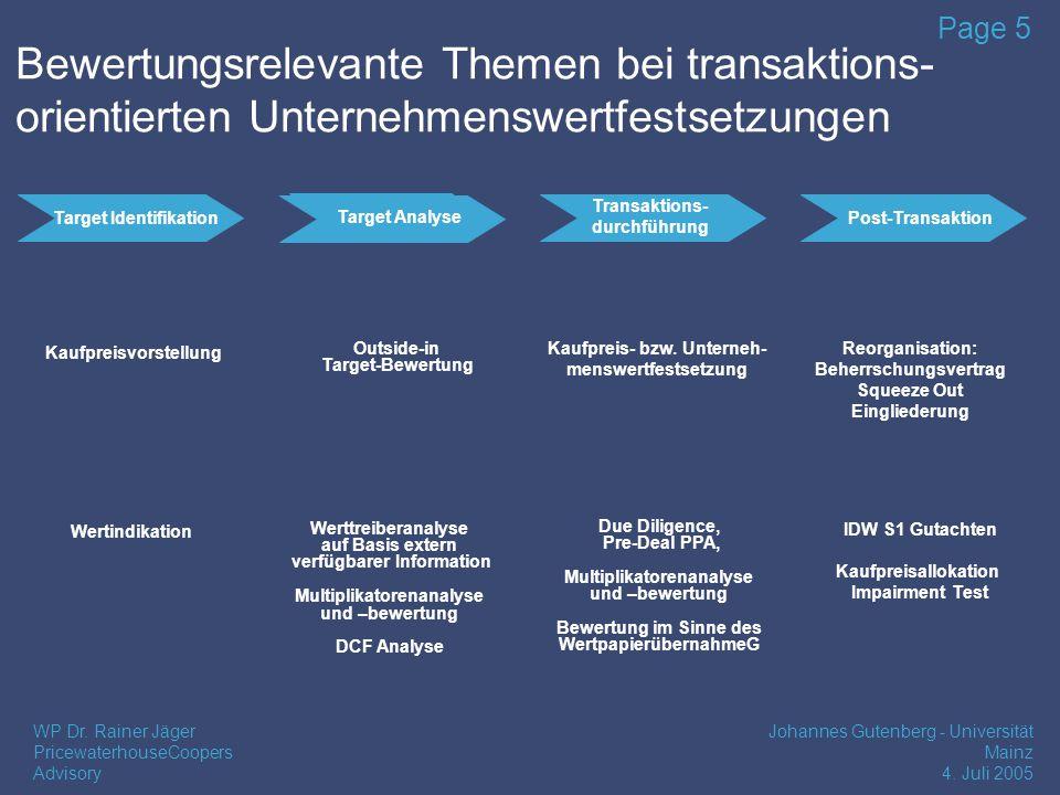 Bewertungsrelevante Themen bei transaktions- orientierten Unternehmenswertfestsetzungen