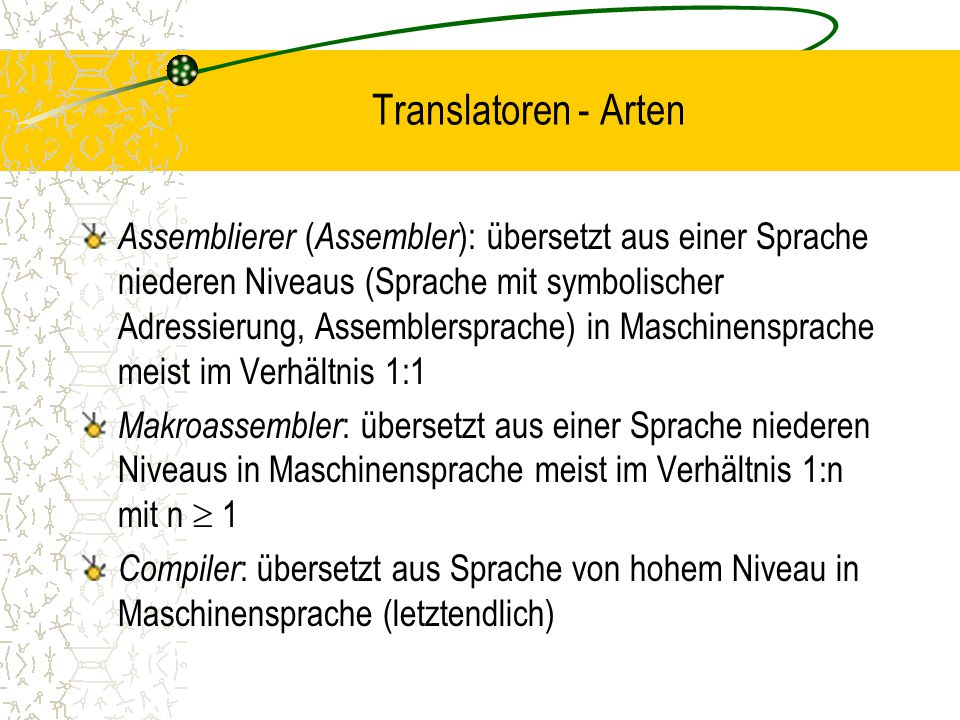Translatoren - Arten