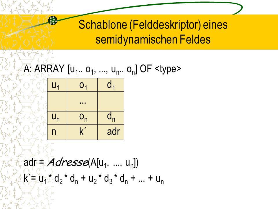 Schablone (Felddeskriptor) eines semidynamischen Feldes