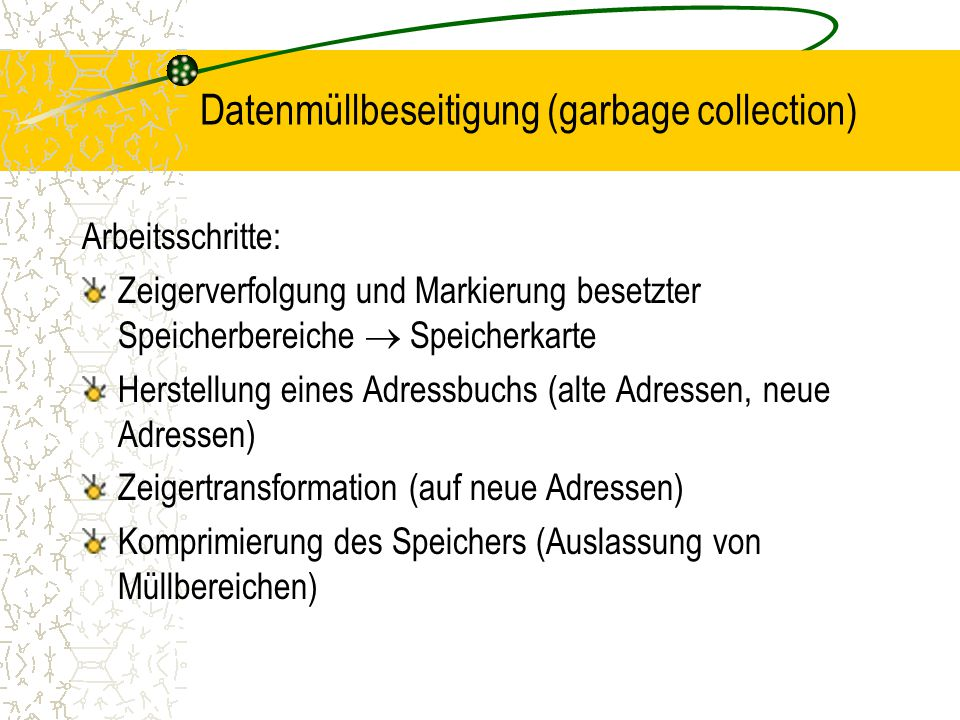 Datenmüllbeseitigung (garbage collection)