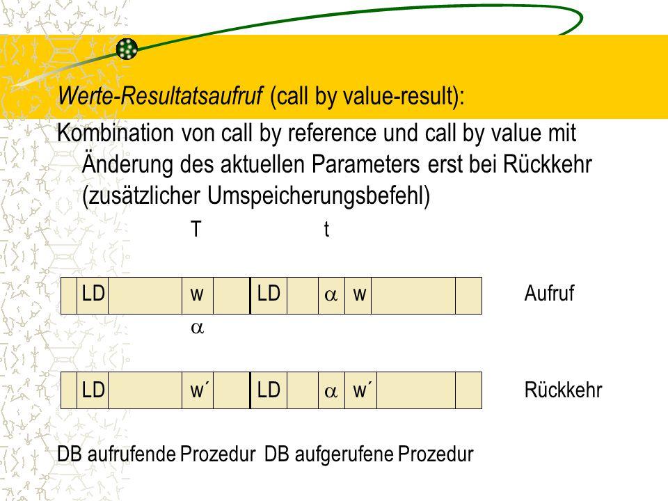 Werte-Resultatsaufruf (call by value-result):
