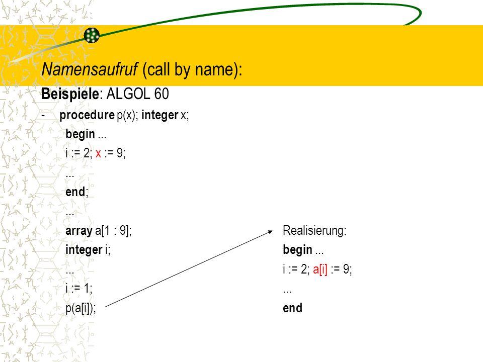 Namensaufruf (call by name):