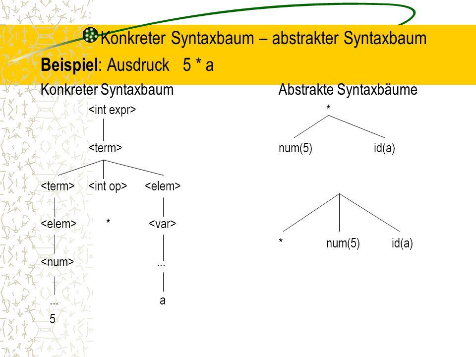 Konkreter Syntaxbaum – abstrakter Syntaxbaum Beispiel: Ausdruck 5 * a