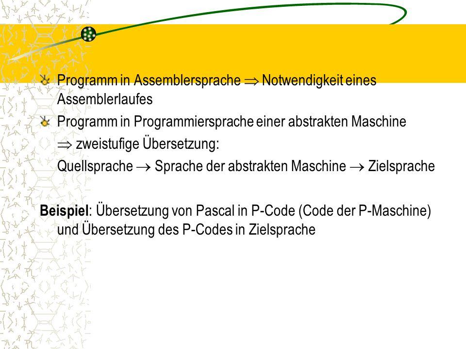 Programm in Assemblersprache  Notwendigkeit eines Assemblerlaufes