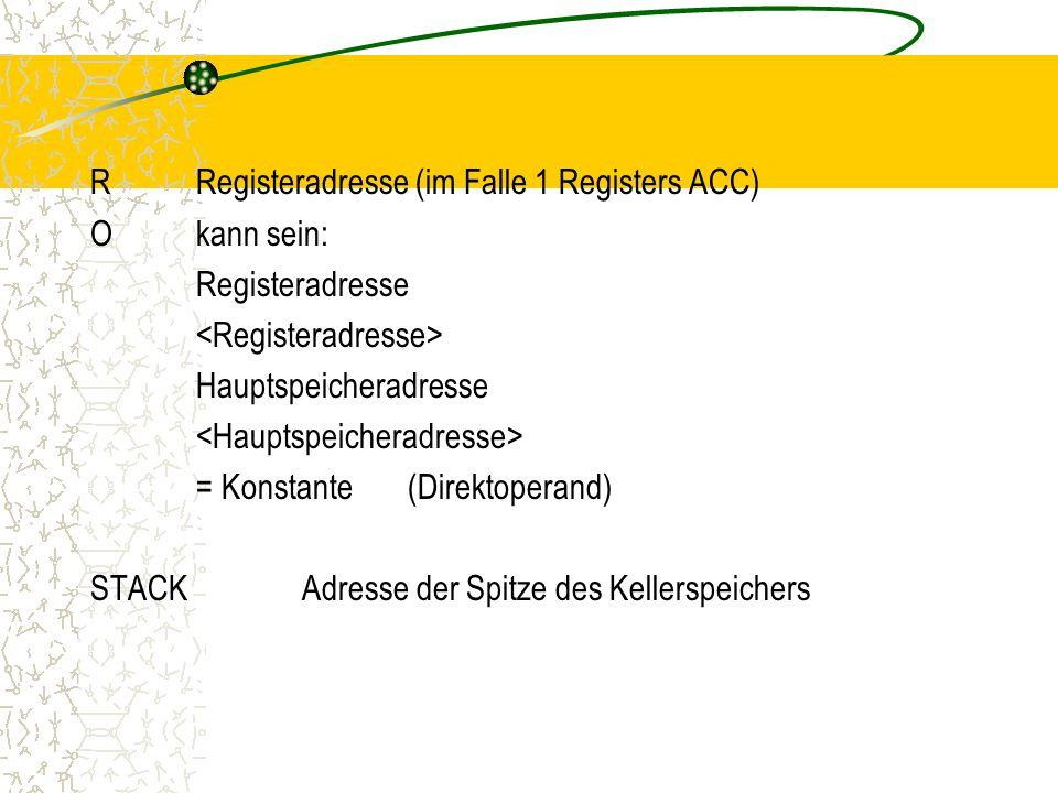 R Registeradresse (im Falle 1 Registers ACC) O kann sein: Registeradresse <Registeradresse> Hauptspeicheradresse <Hauptspeicheradresse> = Konstante (Direktoperand) STACK Adresse der Spitze des Kellerspeichers