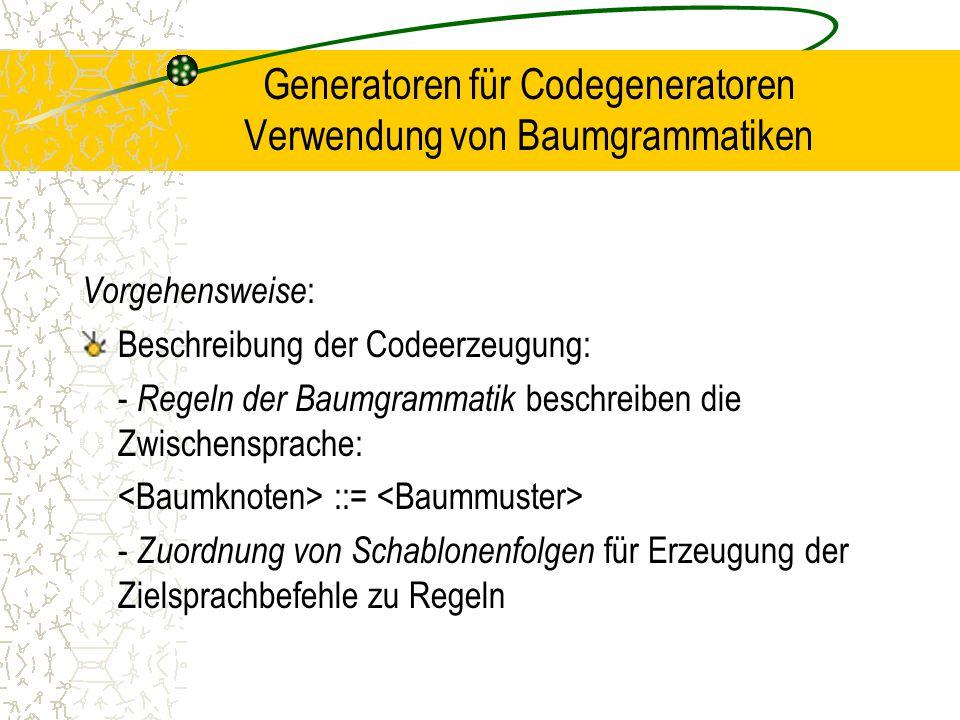 Generatoren für Codegeneratoren Verwendung von Baumgrammatiken