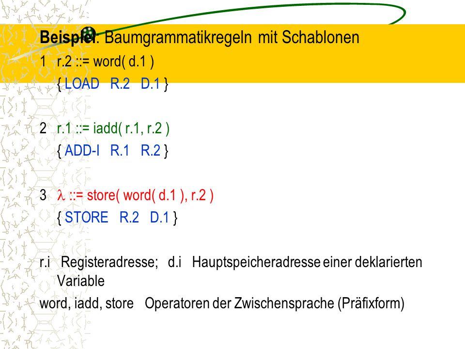 Beispiel: Baumgrammatikregeln mit Schablonen