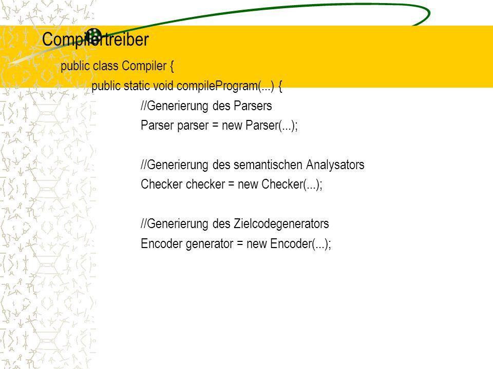 Compilertreiber public class Compiler {