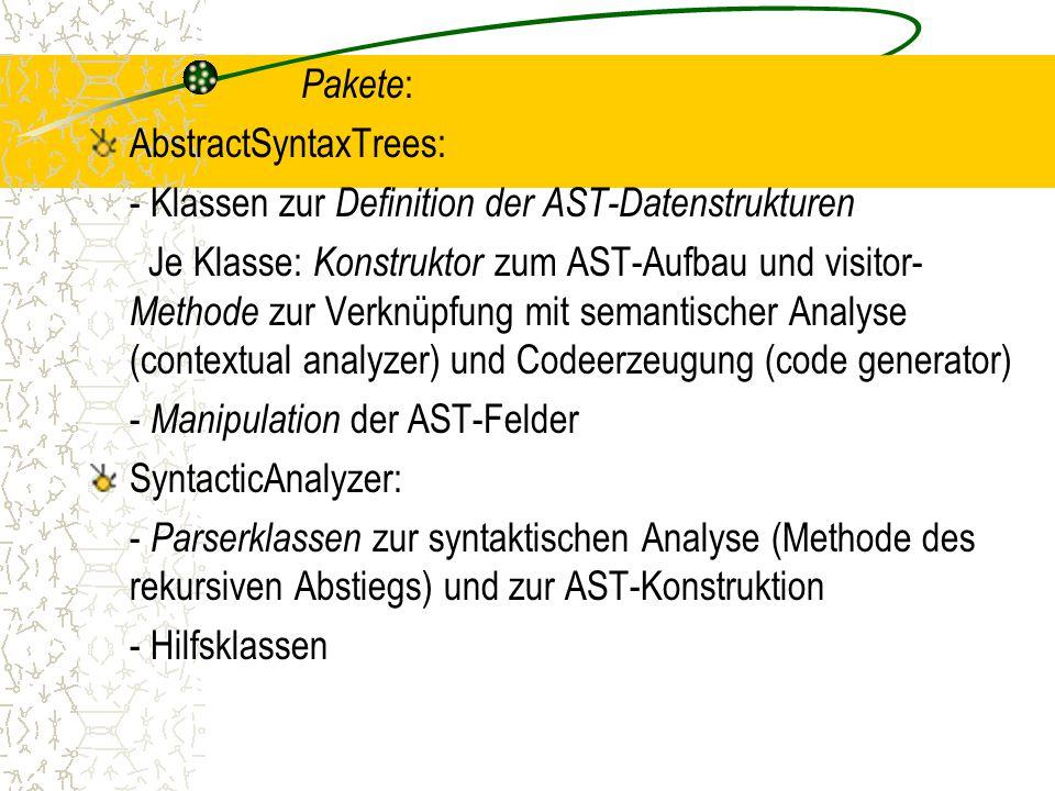 Pakete: AbstractSyntaxTrees: - Klassen zur Definition der AST-Datenstrukturen.