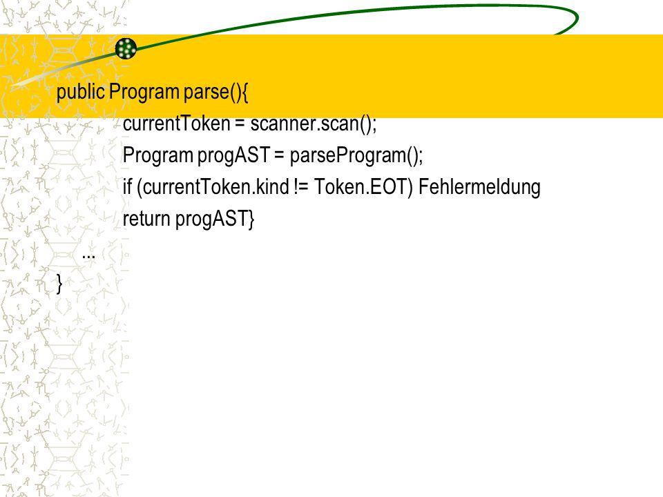 public Program parse(){ currentToken = scanner