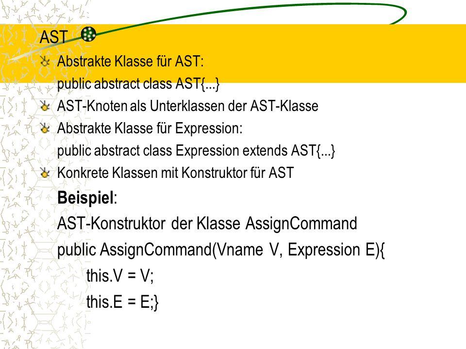 AST-Konstruktor der Klasse AssignCommand