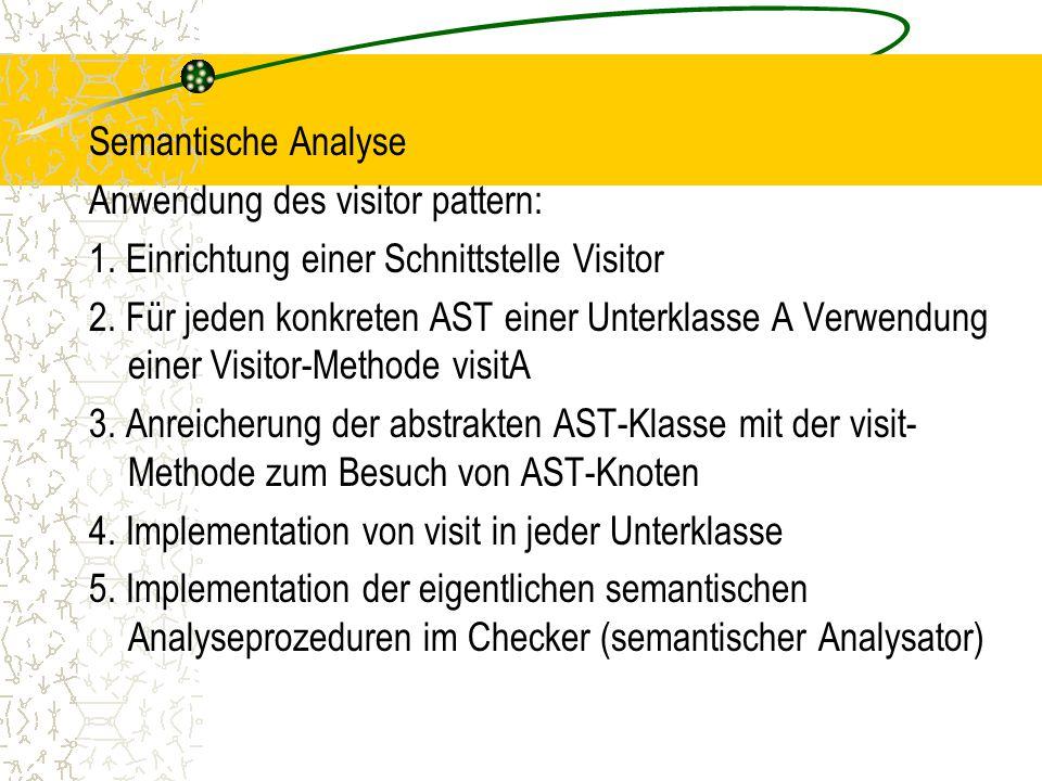 Semantische Analyse Anwendung des visitor pattern: 1