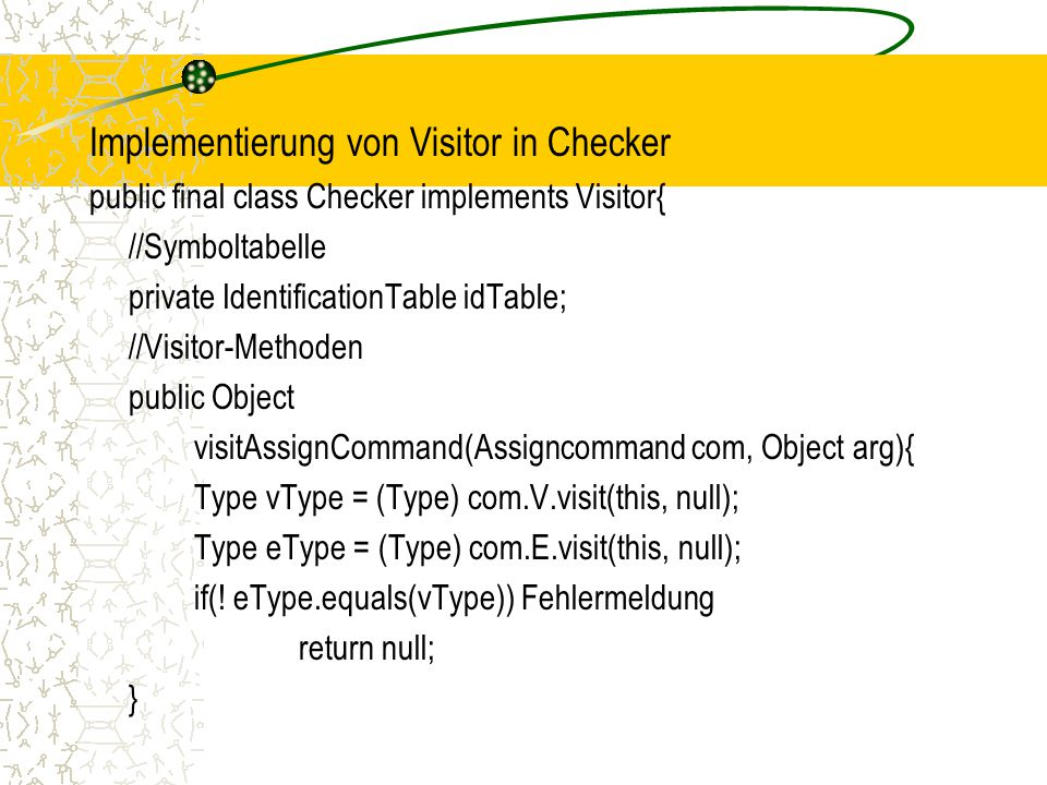 Implementierung von Visitor in Checker