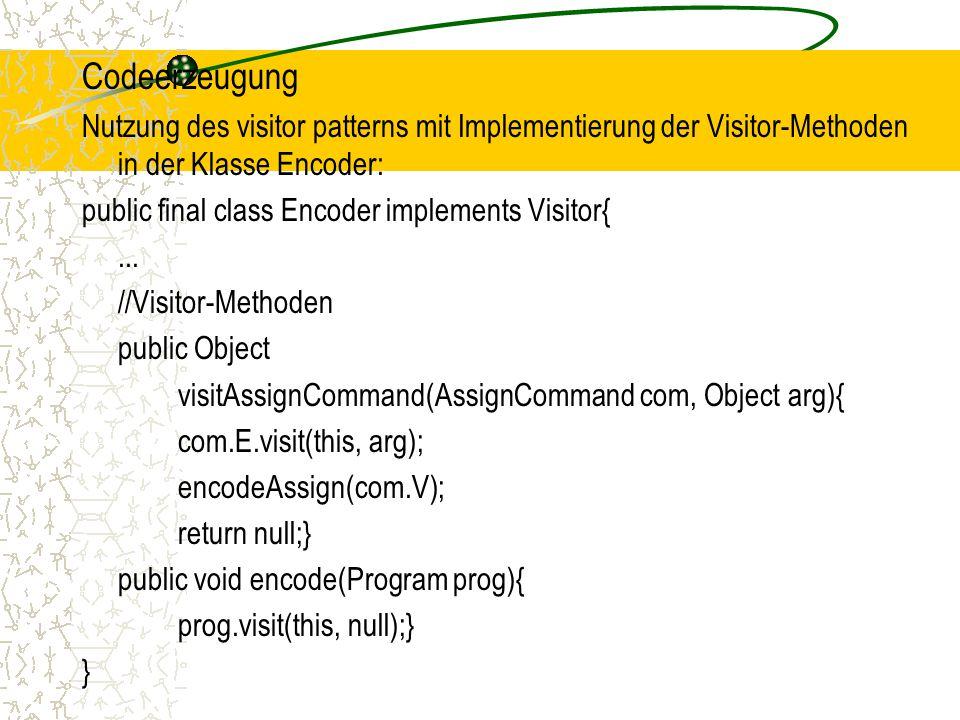Codeerzeugung Nutzung des visitor patterns mit Implementierung der Visitor-Methoden in der Klasse Encoder: