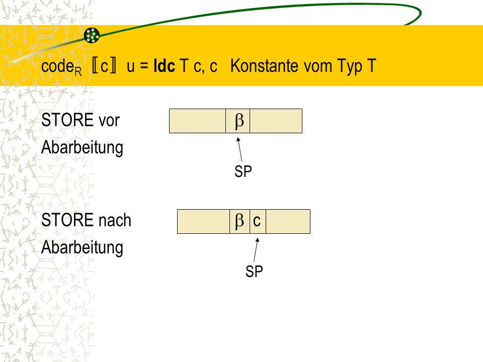 codeR〚c〛u = ldc T c, c Konstante vom Typ T STORE vor  Abarbeitung