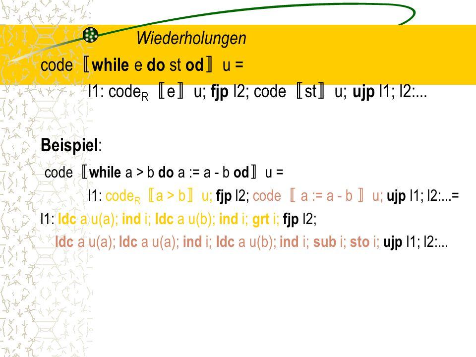 code〚while e do st od〛u =