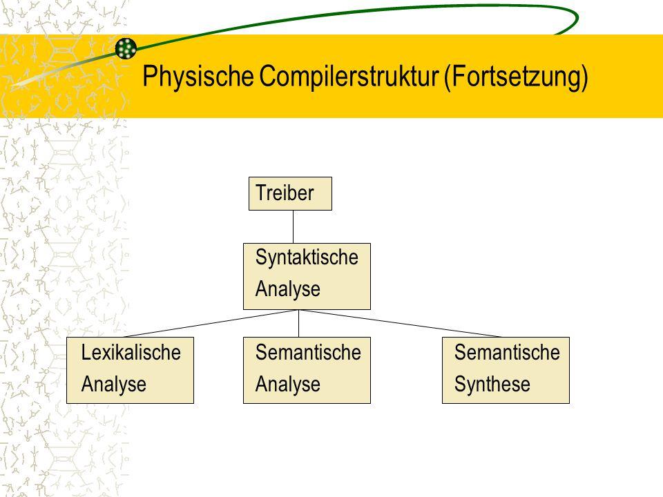 Physische Compilerstruktur (Fortsetzung)
