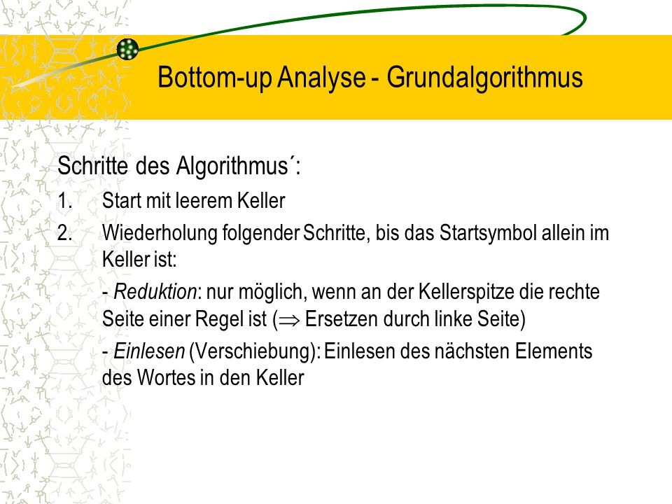 Bottom-up Analyse - Grundalgorithmus