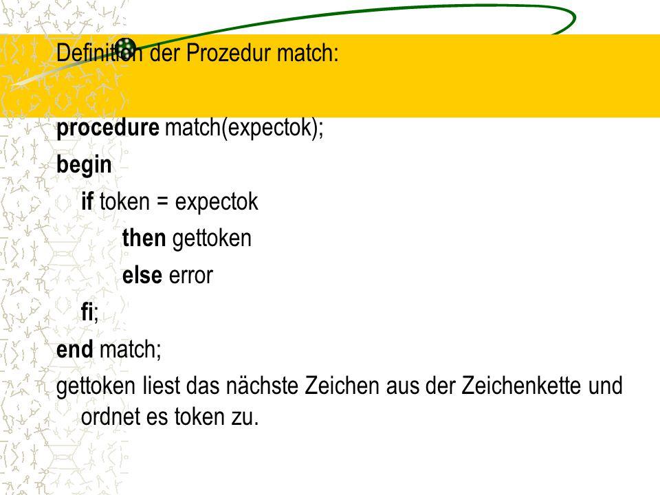 Definition der Prozedur match: procedure match(expectok); begin if token = expectok then gettoken else error fi; end match; gettoken liest das nächste Zeichen aus der Zeichenkette und ordnet es token zu.