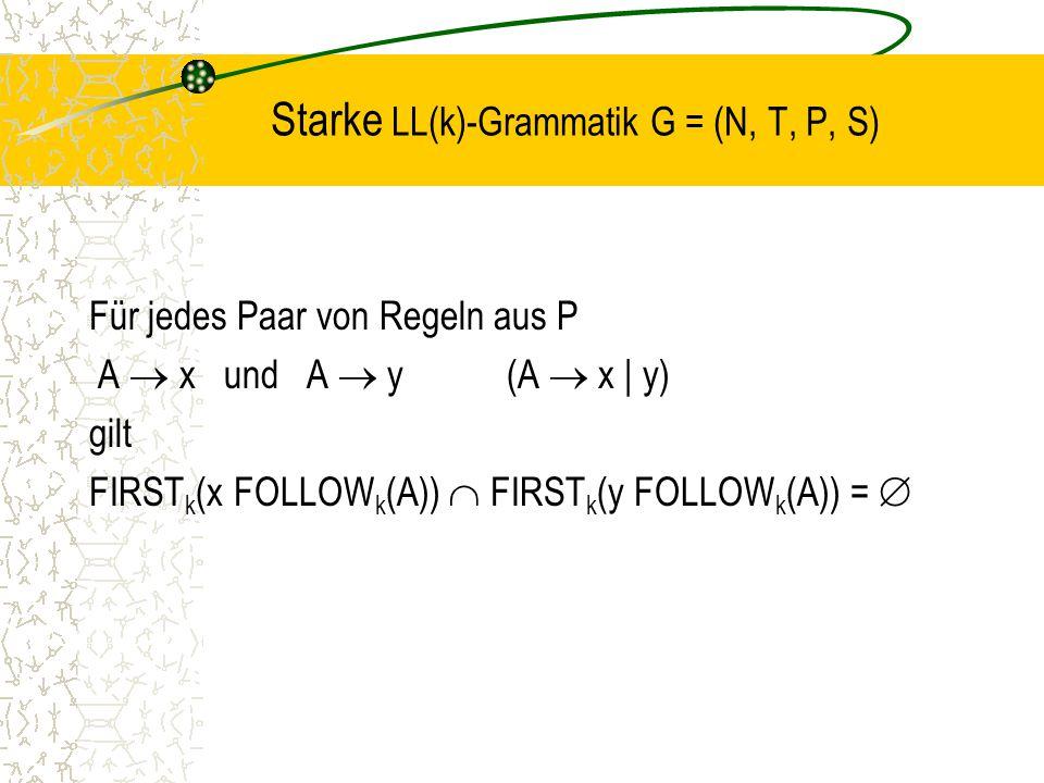 Starke LL(k)-Grammatik G = (N, T, P, S)