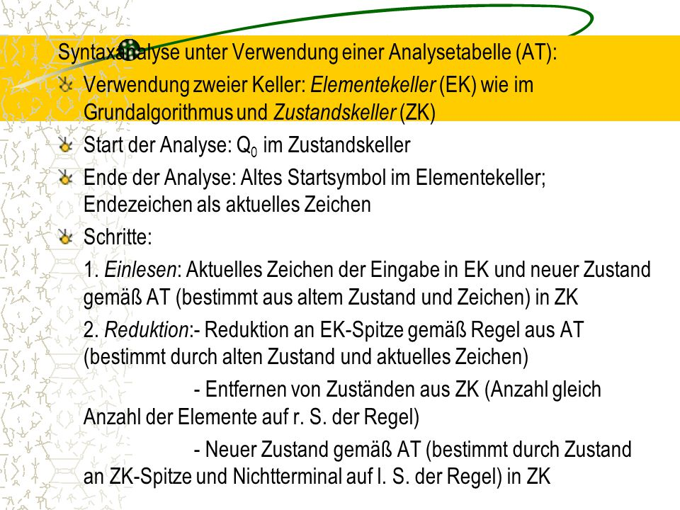 Syntaxanalyse unter Verwendung einer Analysetabelle (AT):