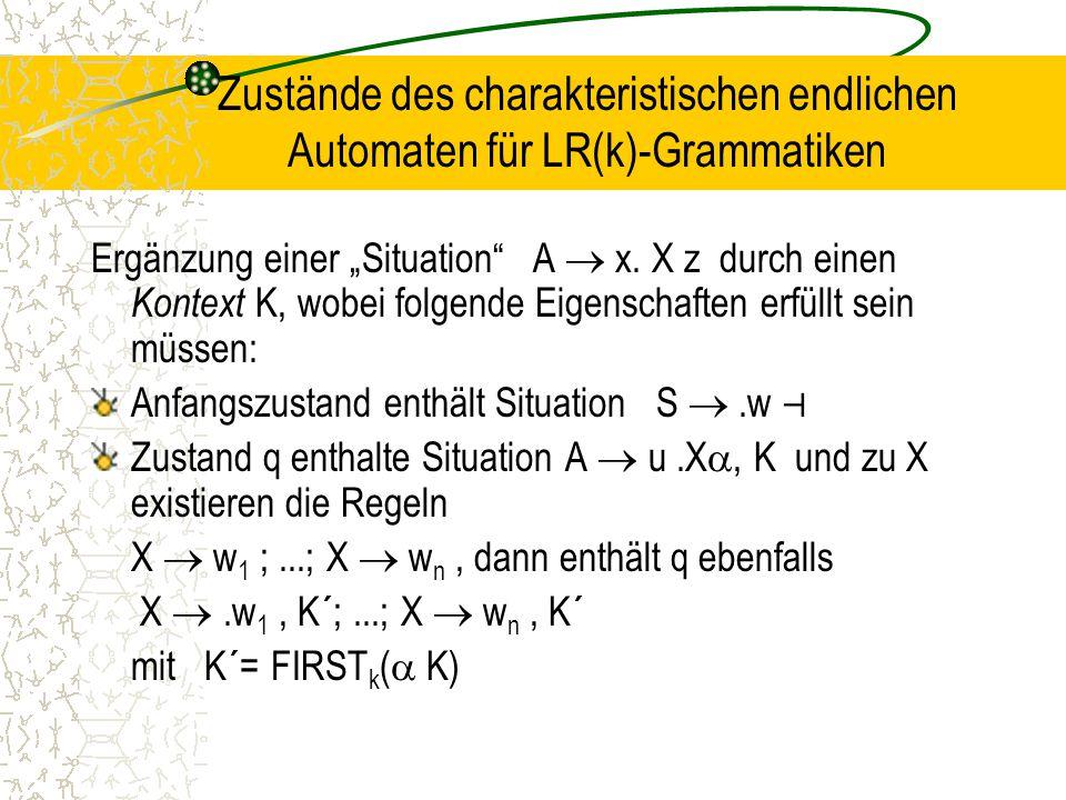 Zustände des charakteristischen endlichen Automaten für LR(k)-Grammatiken