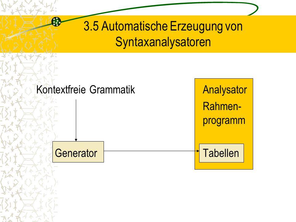 3.5 Automatische Erzeugung von Syntaxanalysatoren