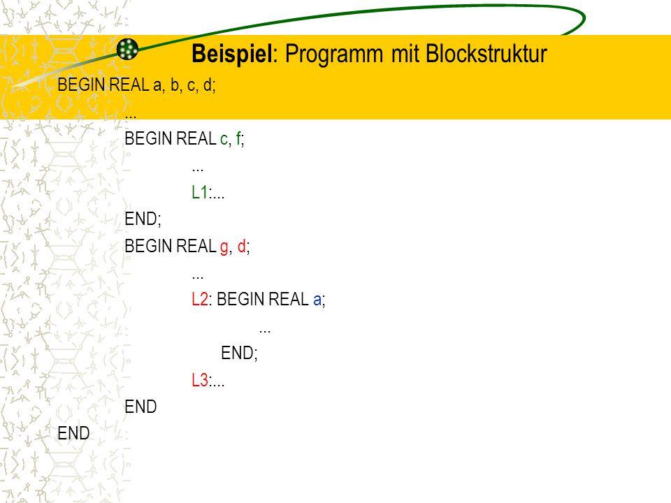 Beispiel: Programm mit Blockstruktur