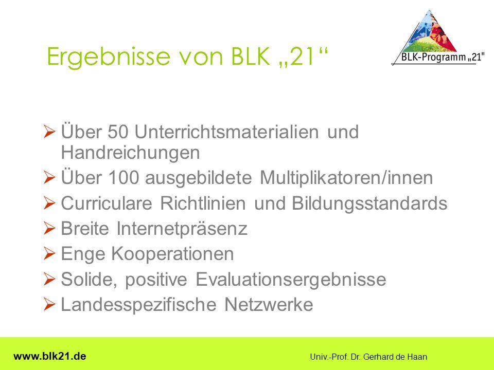 """Ergebnisse von BLK """"21 Über 50 Unterrichtsmaterialien und Handreichungen. Über 100 ausgebildete Multiplikatoren/innen."""
