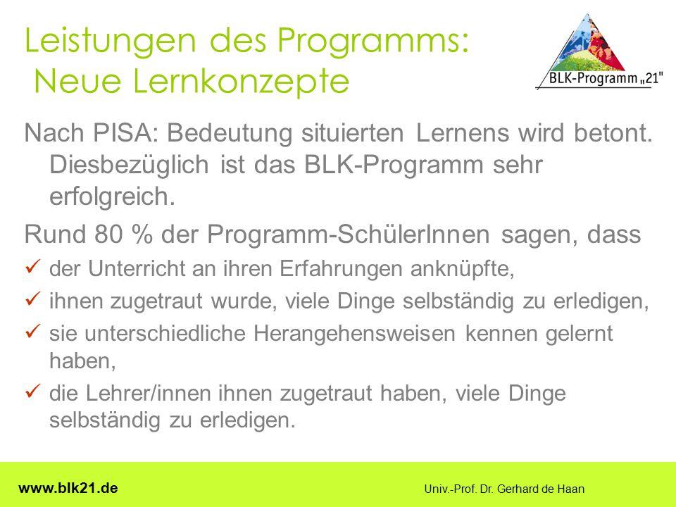 Leistungen des Programms: Neue Lernkonzepte