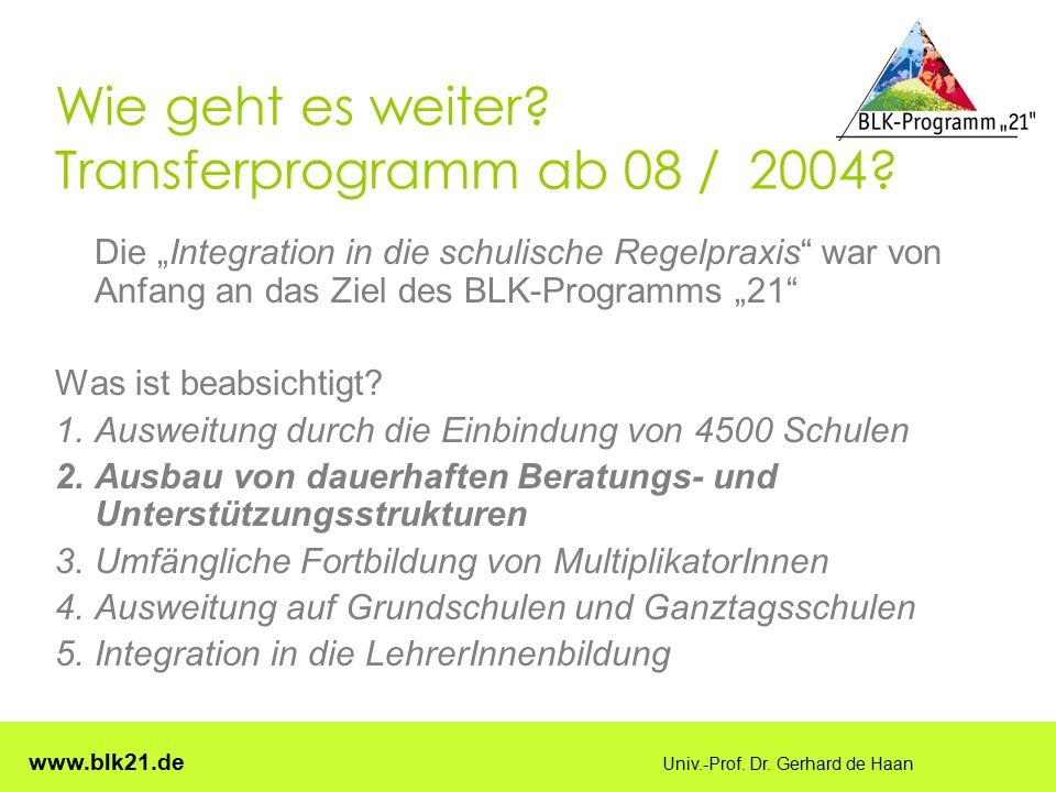 Wie geht es weiter Transferprogramm ab 08 / 2004