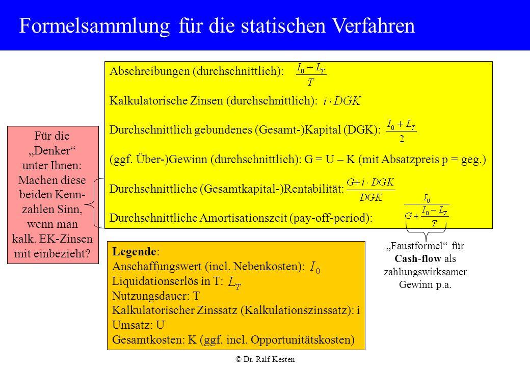 statische investitionsrechnung formeln