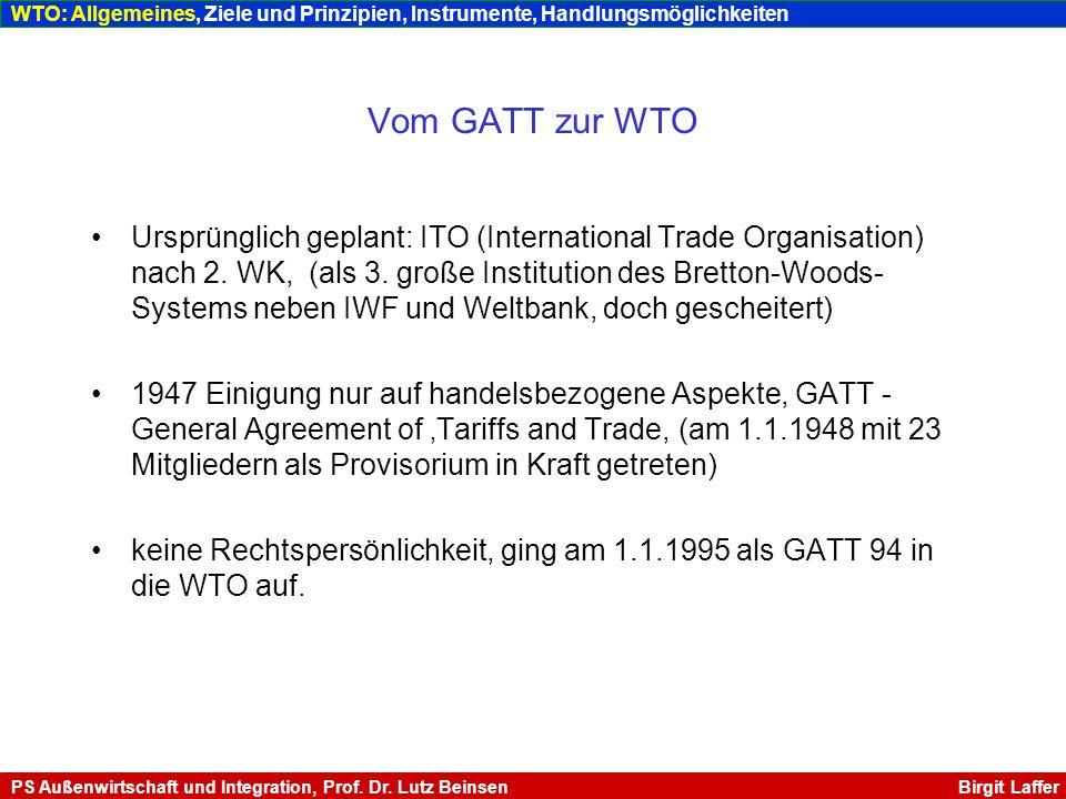 WTO: Allgemeines, Ziele und Prinzipien, Instrumente, Handlungsmöglichkeiten