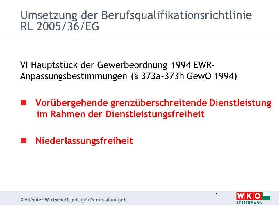 Umsetzung der Berufsqualifikationsrichtlinie RL 2005/36/EG