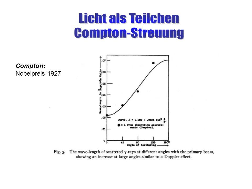 Licht als Teilchen Compton-Streuung Compton: Nobelpreis 1927