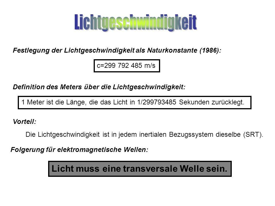 Festlegung der Lichtgeschwindigkeit als Naturkonstante (1986):