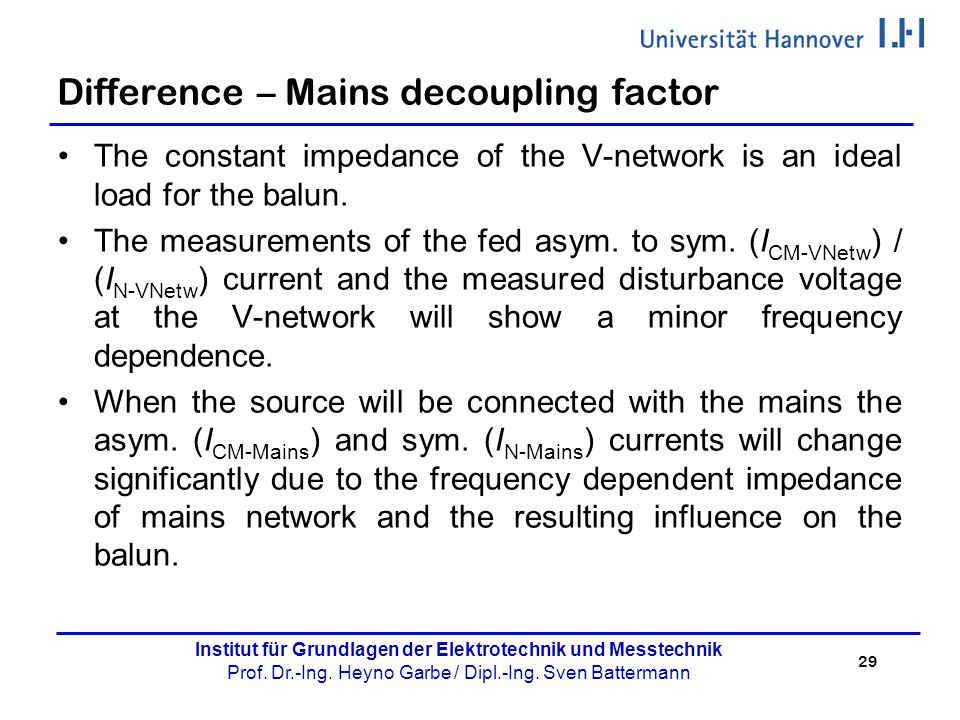 Difference – Mains decoupling factor