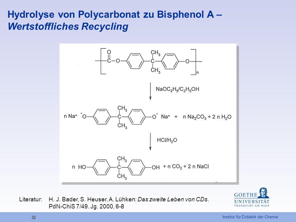 Hydrolyse von Polycarbonat zu Bisphenol A – Wertstoffliches Recycling